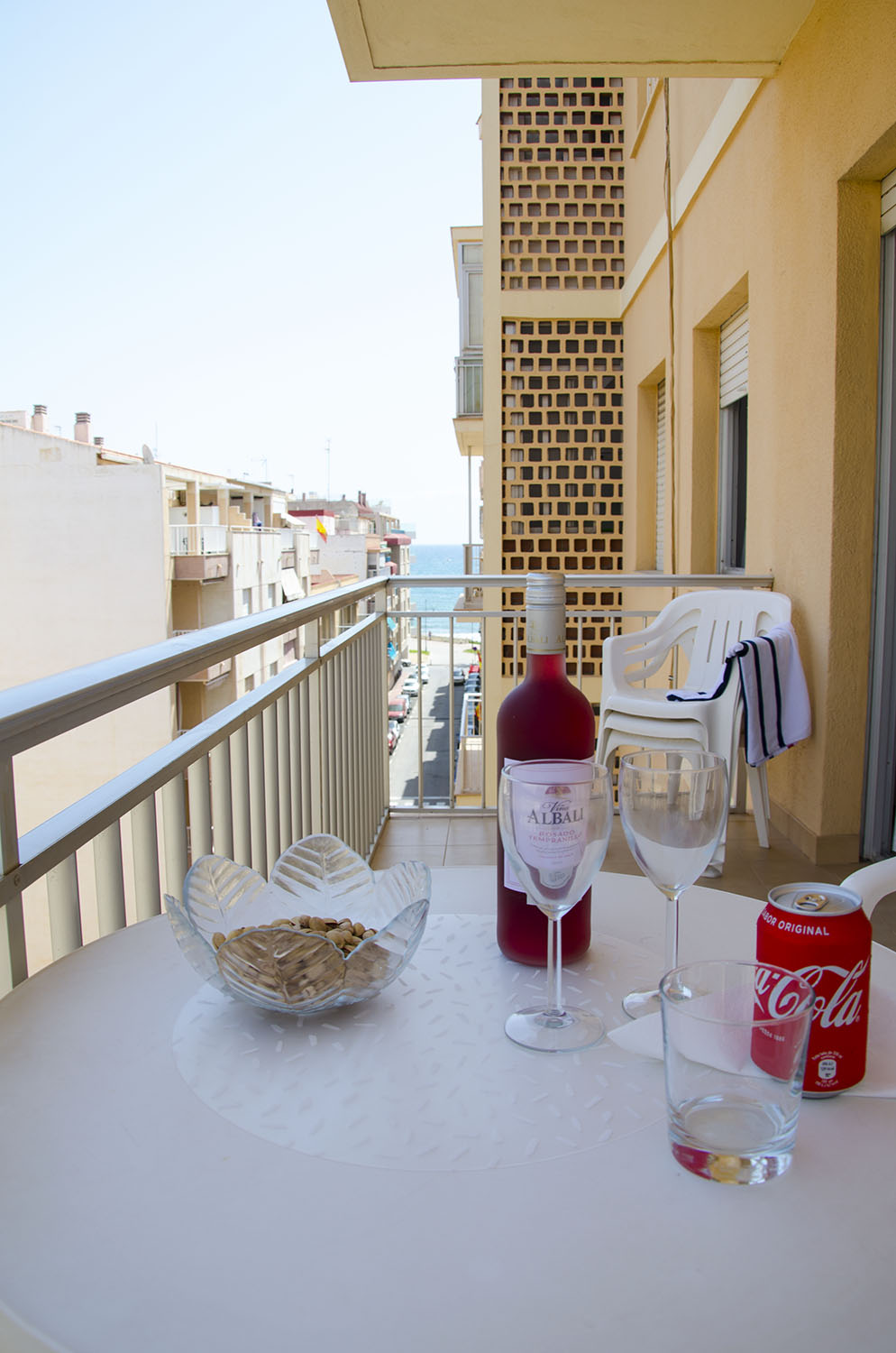 Wine and snacks at the balcony